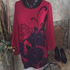 shirt top blouse tunic purple black flowers